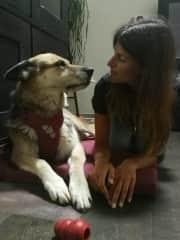 Yuba and Alessandra at home