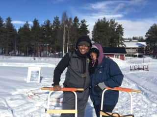 Jetta and Vanessa visiting the arctic circle in Jokkmokk, Sweden.