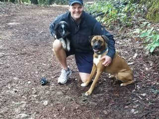 2 puppies and me hiking in Santa Cruz county redwoods