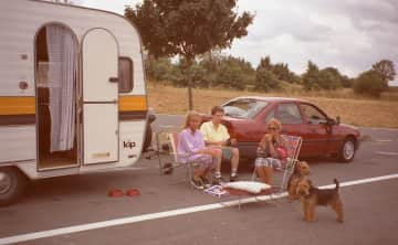 Aaron with his parents and sister (30 years ago) during our holiday with Prince and Cyrus (Welsh Terrier)