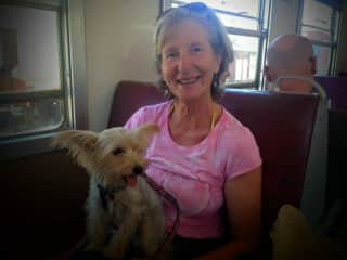 Rosie, our littlest, and me taking a train trip.