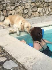 Otto great company for swimming