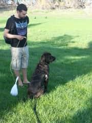 Tom & Kai doing a little post-poop recall training
