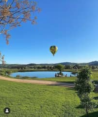 Balloon Aloft above the dam at Lowe Family Wines