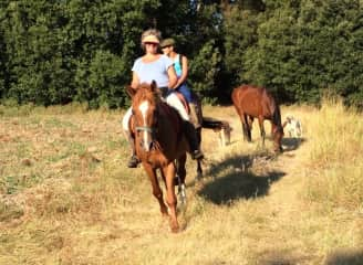 Riding with my son in tuscany