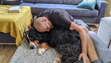 """Our """"god dog"""" Finn. Who loves cuddles more?!"""