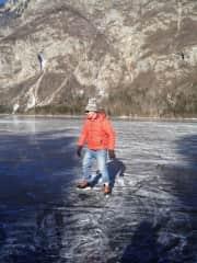 Skating on Lake Bohinj