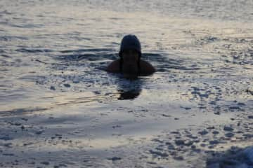Icebath in the Icelandic/atlantic ocean