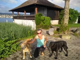 Kristen with Laira and Leon, in Zurich, Switzerland ( 2 week dog/house sit)