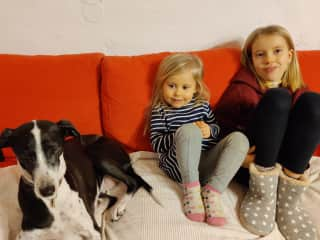 The girls with our friends' (ever so patient) dog(s)... ;)
