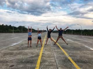 Family jumping in Myanmar