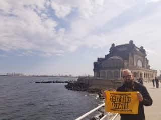 Kris and Steelers' towel in Romania