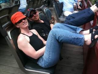 Enjoying a scenic open-air train ride in Leadville, Colorado