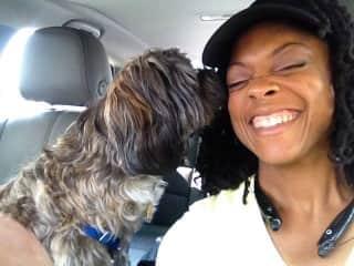 Jaxson giving Mommy Vanessa puppy licks.