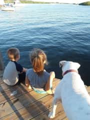 We enjoy spending time boating with our family.