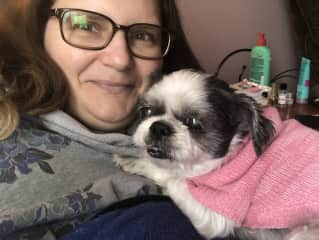 With Popoune, my 16 year old Shih Tzu.