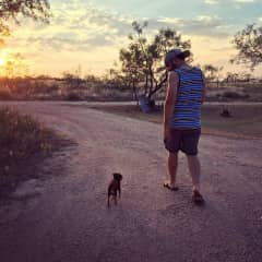Taylor taking a walk with his favorite son (Bacon).
