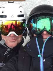 Cathy & Marcus skiing