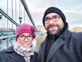 My husband and me in Budapest.