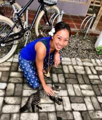 Leona with street cat in Lombok