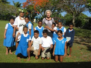 Stephanie working with special needs students in the Cook Islands