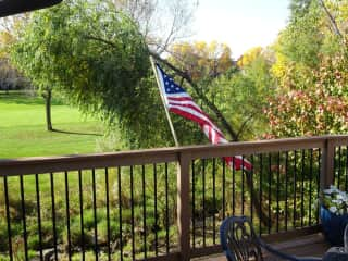 View from deck, looking out over the golf course.