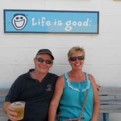 Ron and Bryony - Outerbanks USA. Looking at the photo now i must comment that we were actually sitting underneath this sign, it isn't photoshopped . :-)