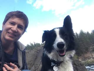 Hiking with house owner's dog Pi in Nine Mile Falls, WA