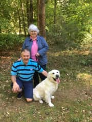 Kate, Phillip and Cromer on a socially distanced walk with the rest of our family in Thetford Forest in July