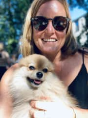 Me and Slayer the pom I sometimes sit for.