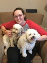 Rachel with Mitzi and Jojo