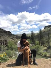 Me and Rowdy on a hike, Maupin, Oregon.