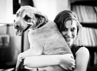 An oldie but goodie, here's me with one of my family's dogs Penny a few years ago.