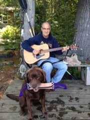 Cookie and me chilling at the cabin.