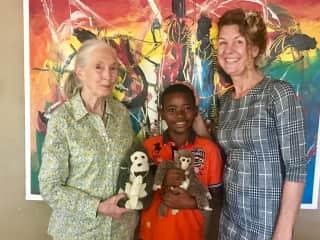 Caroline & Badouli with Jane Goodall