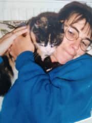 Me with Peggy, our 3 legged cat who sadly is no longer with us.