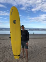James surfing in Costa Rica