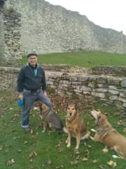 Marco with Bunter, Lady and Sprat