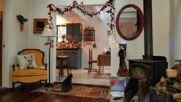 The house is very comfortable and colorful. The neighborhood is very quiet and very few cars.  One can easily go for a 3-4 mile walk just on the nearby roads.