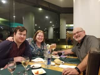 Patricia and Patrick with son Jason while travelling in the Azores.