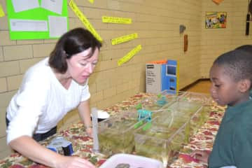 Volunteering during an Environmental Fair Day at an elementary school in Baltimore, MD.  Here I am showing a student how oysters filter their food from the water.