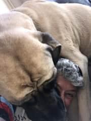 Linda getting a hug from Bailey