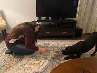 I enjoyed playing with this puppy, taking care of him, and reinforcing the training his owners had been working on. He was a bit skittish at first because he was rescued from an abusive home, and he is sensitive, so I had to be gentle with him.
