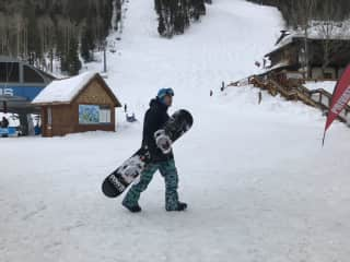 Skiing and snowboarding are two of our favorite activities. We love being in the mountains no matter what season.