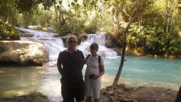 At a waterfall outside Luang Prabang