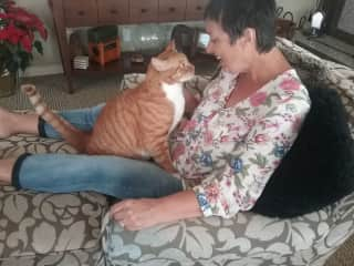 Getting cat love from Murphy in San Clemente, California!