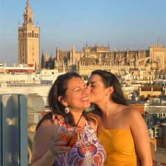 In Seville with my daughter, Lucelia, on a trip in 2018, where I fell in love with Spain!
