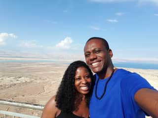 Beautiful view of the Dead Sea in the background.