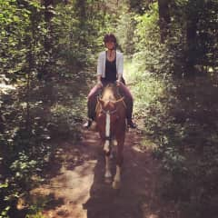 My first horse ride in the woods.