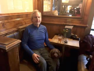 Hal hanging with George in an historic pub in Highgate, London, taking a break on one of our longer walks.